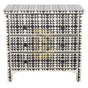 Bone Inlay Geometric Design Black Chest of Three Drawer
