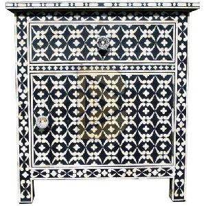Bone Inlay Geometric Design Blue Bedside Tables