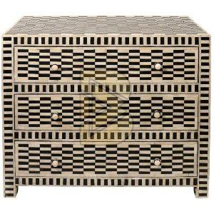 Bone Inlay Geometric Design Chest of Three Drawer