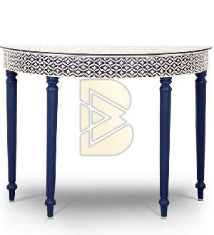 Bone Inlay Geometric Design Embossed Curved Console Table