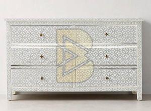 Bone Inlay Geometric Design Gray Chest of Six Drawer