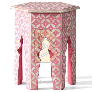 Bone Inlay Geometric Design Hexagon Pink End & Side Table