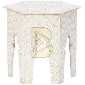 Bone Inlay Geometric Design Hexagon White End & Side Table