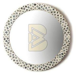 Bone Inlay Geometric Design Oval Shaped Mirror
