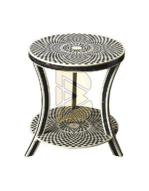 Bone Inlay Geometric Design End & Side Table 01