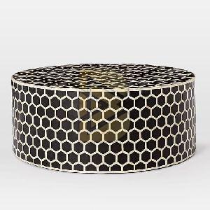 Bone Inlay Honeycomb Design Black Coffee Table 01