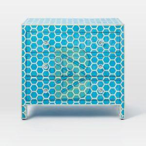 Bone Inlay Honeycomb Design Blue Chest of Three Drawers