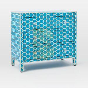 Bone Inlay Honeycomb Design Blue Chest of Three Drawer 02