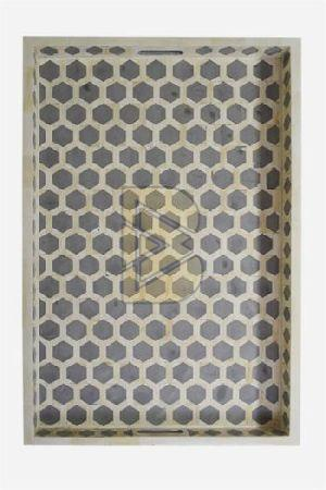 Bone Inlay Honeycomb Design Gray Tray