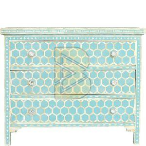 Bone Inlay Honeycomb Design Sky Blue Chest of Three Drawer
