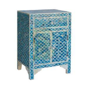 Bone Inlay Moroccan Design Blue Bedside Table