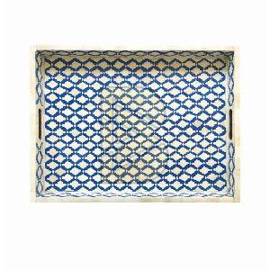 Bone Inlay Moroccan Design Blue Tray