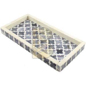 Bone Inlay Moroccan Design Charcoal Gray Tray 02