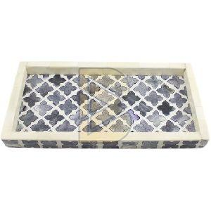 Bone Inlay Moroccan Design Charcoal Gray Trays