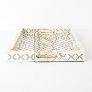 Bone Inlay Moroccan Design Ivory Tray 02