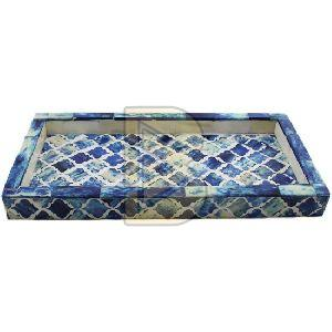 Bone Inlay Moroccan Design Ocean Blue Dark Tray