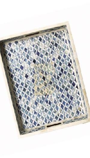 Bone Inlay Moroccan Design Ocean Blue Tray
