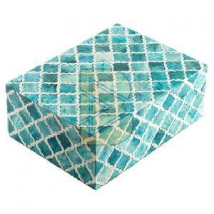 Bone Inlay Moroccan Design Turquoise Blue Box