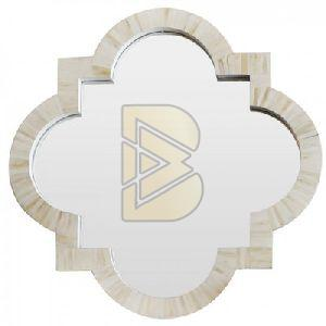 Bone Inlay Quatrefoil Shaped White Mirror