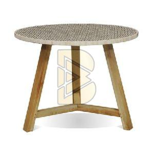 Bone Inlay Round Full Geometrical End & Side Table 01