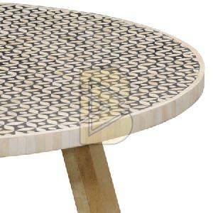 Bone Inlay Round Full Geometrical End & Side Table 02