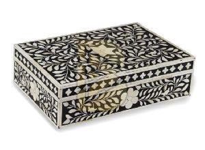 Bone Inlay Royal Floral Design Black Box