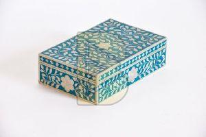 Bone Inlay Royal Floral Design Blue Box