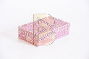 Bone Inlay Royal Floral Design Pink Box