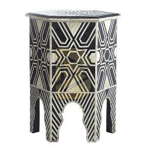 Bone Inlay Star Design Hexagonal Black End & Side Table