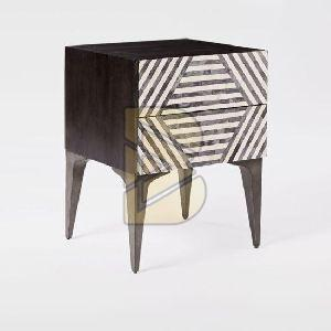 Bone Inlay Stripe Design Black Bedside Table 01