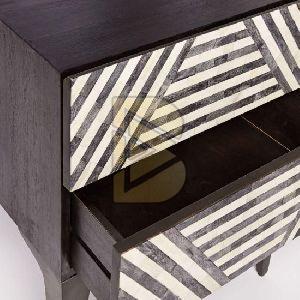 Bone Inlay Stripe Design Black Bedside Table 02