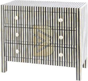 Bone Inlay Striped Design Black Chest of Three Drawer