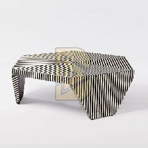 Bone Inlay Striped Design Black Coffee Table