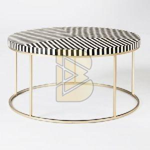 Bone Inlay Stripe Design Black Round Coffee Tables