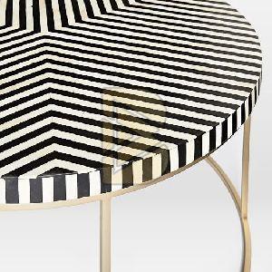 Bone Inlay Stripe Design Black Round Coffee Table 02