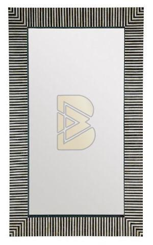 Bone Inlay Striped Design Black and White Mirror