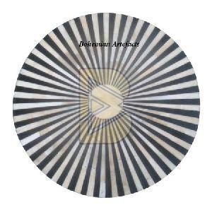 Bone Inlay Striped Design Black Drum / End Table 03