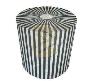 Bone Inlay Striped Design Black Drum Shaped End Tables