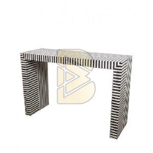 Bone Inlay Striped Design Console Table