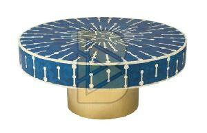 Bone Inlay Targua Geometric Design Blue Coffee Table