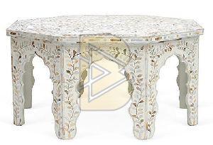 Bone Inlay White Floral Design Hexagonal Coffee Table
