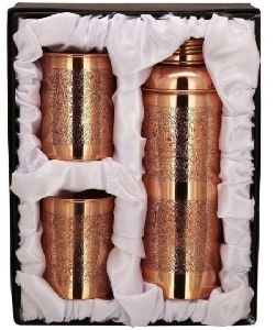 Etched Design Copper Bottle Set