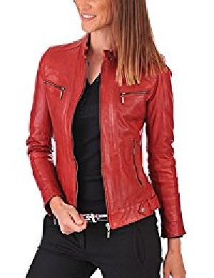 Womens Lambskin Red Leather Biker Jacket 01