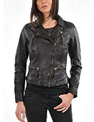 Womens Vintage Black Leather Jacket 01