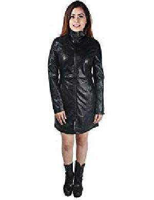Womens Lambskin Black Leather Long Biker Jacket 01