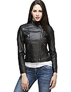 Womens Lambskin Black Leather Biker Jacket 01