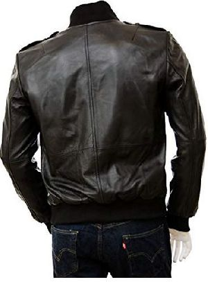 Mens Full Grain Leather Bomber Jacket 02