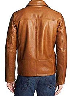 Mens Lambskin Brown Leather Bomber Jacket 02