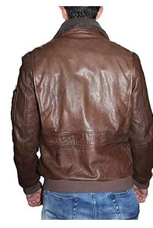 Mens Lambskin Leather Shearling Collar Bomber Jacket 02