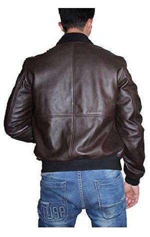 Mens Sword Brown Lambskin Leather Biker Jacket 02